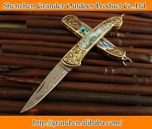 Brass + Shell handle Big size Damascus knife Folding Pocket Knife 4731