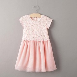 Tat1639 european baby dress short sleeve lace pink girl dress