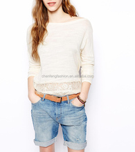 CHEFON Lace hem long sleeve plain white tops women