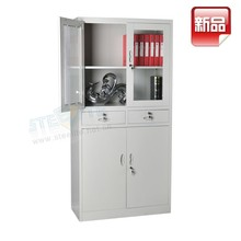 glass door steel office file cabinet furniture with 2 drawers / full height 4 door metal documents cabinet