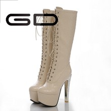 new arrival 15cm high heel and 6cm platform lace up boots for women