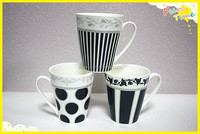 Best selling 11oz white black stripe ceramic cofee mug with decal