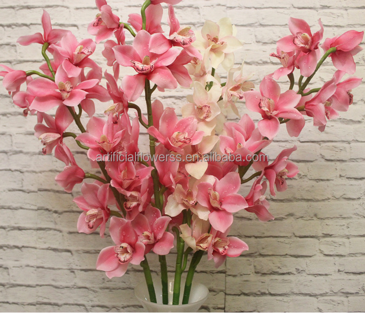 Home decor light pink artificial dendrobium orchid flowers