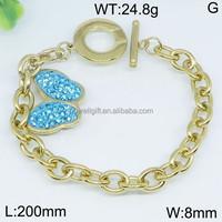 Gorgeous set lovely blue butterfly gold hockey lace bracelet