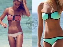 Custom new design high quality beautiful open hot sex push up zipper triangl string lace smart and sexy neon neoprene bikini