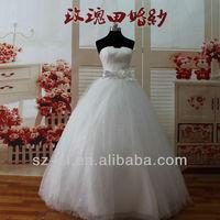 Top Fashion High Grade Actual Wedding Dresses Adorn Flower Belt With Luxuriours Skirt 12129