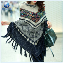 Wool Sweater Poncho knitted Flower Ladies Woolen Poncho For Winter, Fashion Jacquard Sweater Cloak 2015, Knit Women Wool Sweater
