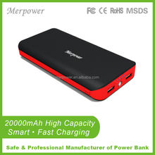 fast charging dual li-ion battery pack safe mobile power supply external battery 20000mah