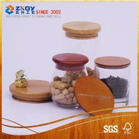 Shaped Promotional Home Decorative Glass Jars With Wooden Lids