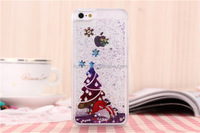 Low price china mobile phone 2016 Christmas Design sand flowing glitter liquid back case for iphone 6 liquid case factory price