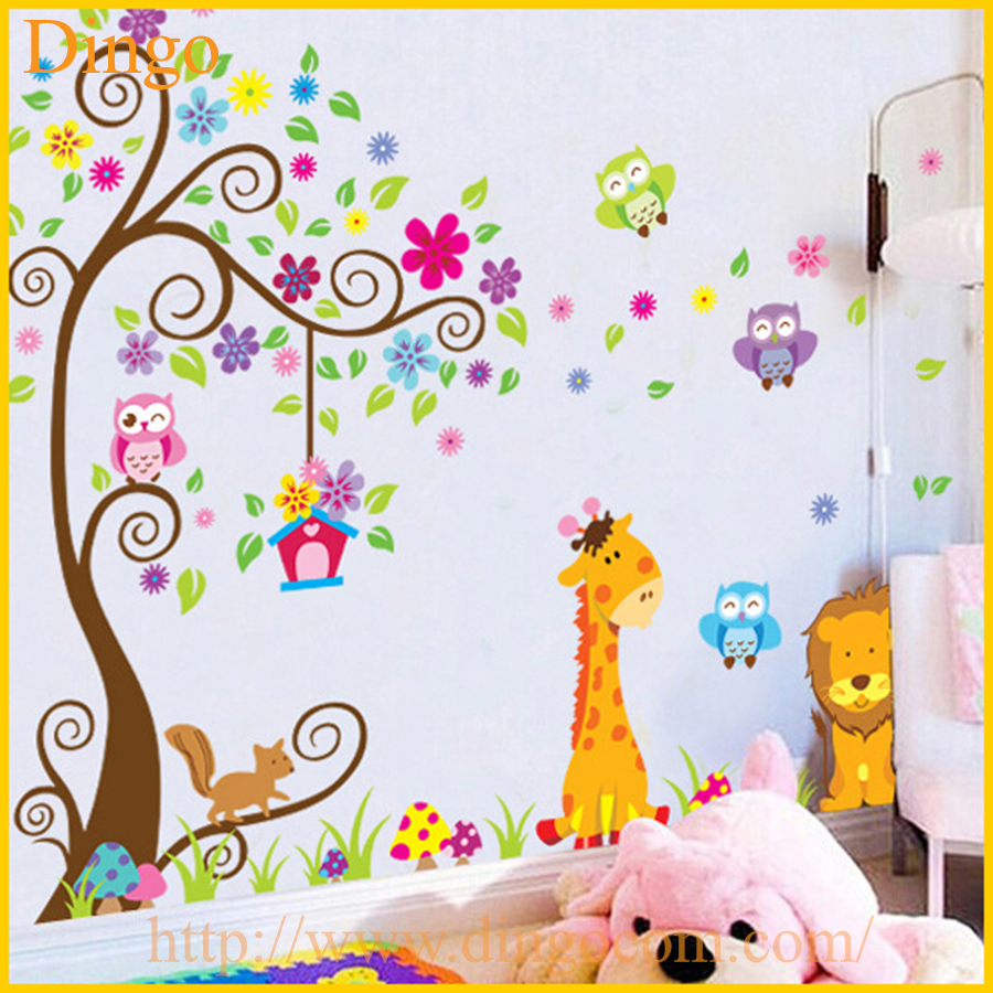 Branche d 39 arbre stickers muraux murales b b fille nursery enfants chambre sticker home decor - Decoratie murale chambre bebe ...