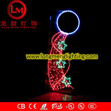 three star flying motif lights, CE,ROSH approve high quality motif lights,holidays electricity pole mounted decration lights,