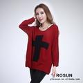 que en china la mujer jersey con el patrón de la cruz suéter de punto