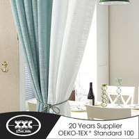 Newest curtain design 100% Polyester faux linen curtain styles for dubai