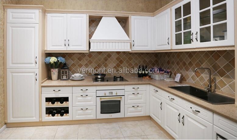 Houten deur moderne witte keuken kast pvc laminaat keuken kasten ...