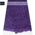Marroquíes de estilo caftán 2015 cuerda de tela de encaje/púrpura encaje solubles en agua de londres de la tela de encaje suizo nigeriano para weding vestido