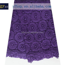 Moroccan kaftan style 2015 cord lace fabric/ purple water soluble lace fabric london swiss lace for nigerian weding dress