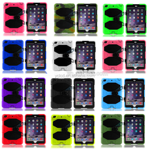 Hybrid bumper rubber Case For ipad 2 3 4 with stand