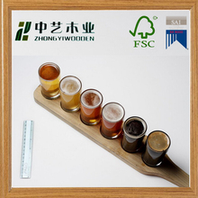 Beer Tasting Classy Serving Set - Birch Wood Paddle Tray & 4 Glasses - Home Bar