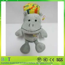 Rainbow stripe cotton fabric baby blanket hippo plush toys, soft blanket for kids