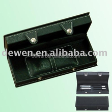 Hot selling Leather Pen Set with logo bal pen+roller pen+leather case