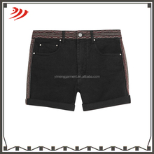 Women acid wash jeans ruffle shorts women embroidered denim elastic waist shorts
