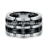 Fashionable stainless steel and ceramic material men's wedding rings jewellery