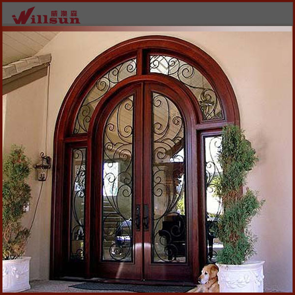 Antique style wrought iron double entry doors buy for Storm doors for double entry doors