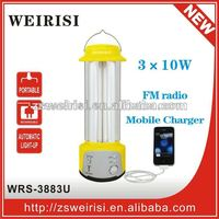 Portable rechargeable 3X10W fluorescent emergency lantern with Mobile Charge and FM radio