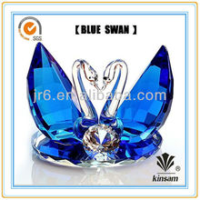 New design Blue Crystal Swan with Diamond for wedding gift