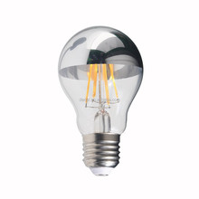 A60/A19 Crown Half-Chrome Silver Mirror LED Filament Bulb,Top Reflector Lamp