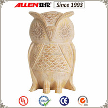 24 cm yellow engraved resin wood owl statue