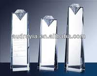luxury diamond tower crystal award laser etched