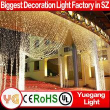 Whtie PVC Cheap decorative icicle fairy light curtain wedding fairy light curtain