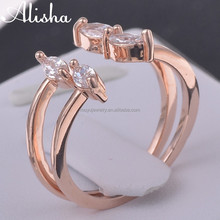 expandable rose gold plating wedding copper ring with 4 crystals