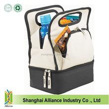 Promotional wholesale cheap two compartment lunch cooler box/instulated cooler food comtainer/cheap compartment cooler bag