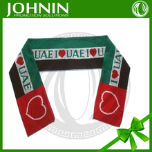 sport wear top quality nice polyester scarf with digital printing factory sale flag knit scarf