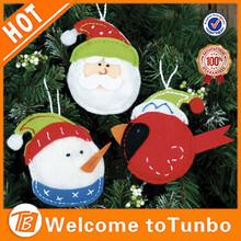 China factory hanging fabric snowman head handmade christmas tree ornaments