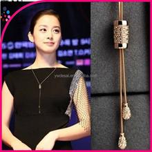 Fashionable joker crystal pendant decorative long chain necklace