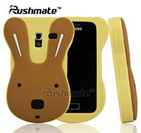 For Samsung Galaxy Ace Plus S7500 Durable Yellow&Brown Cute Rabbit Design Mobile Phone Accessory Silicone Case Cover