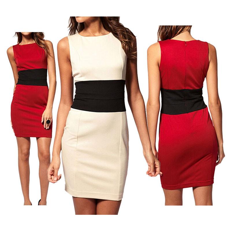 Летом женщин Европейского пр o шея пэчворк контраст цвета сексуальная худой талией молнии без рукавов карандаш платья 2 x e3068 # м2