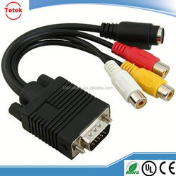 VGA to S-Video 3 RCA Composite Converter Adapter Cable for PC Laptop