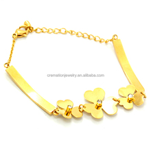 Unique Personalized Wholesale Friendship Bracelets Gift for Girl Beautiful 14K Gold Flower Bangle
