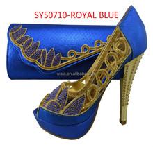 Nigeria party wedding bridal thin high heel wedding shoes SY50710-3 royal blue