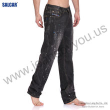 Wholesale German Traditional Garments Fashion Mens Sequins Decorated Shiny Detailed Dungaree Pants Male Painter Splashed D Jeans