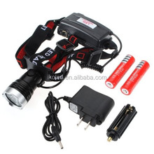 Best quality headlight T6 bicycle xml t6 led flash headlamp with 18650 Battery Charger Kits