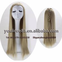 Synthetic hair cosplay wig Long Straight Sexy hair Wigs With One Braid Halloween Party Best Wigs for Women