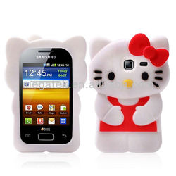Cute 3d hello kitty silicon case for samsung galaxy Y duos S6102