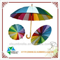 Stick 16 ribs wooden rainbow umbrellla for rain and sun
