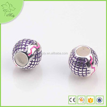 New Design Purple Enamel Round European Style Charm Zinc Alloy Beads Direct From China